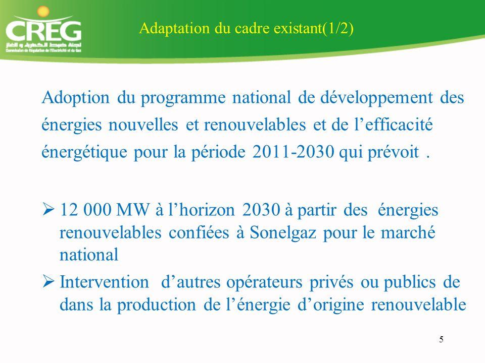 5 Adaptation du cadre existant(1/2) Adoption du programme national de développement des énergies nouvelles et renouvelables et de lefficacité énergétique pour la période 2011-2030 qui prévoit.