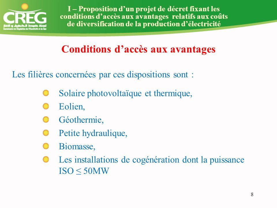 9 Conditions daccès aux avantages (suite) Les installations de production doivent être raccordées au réseau de transport ou de distribution délectricité.