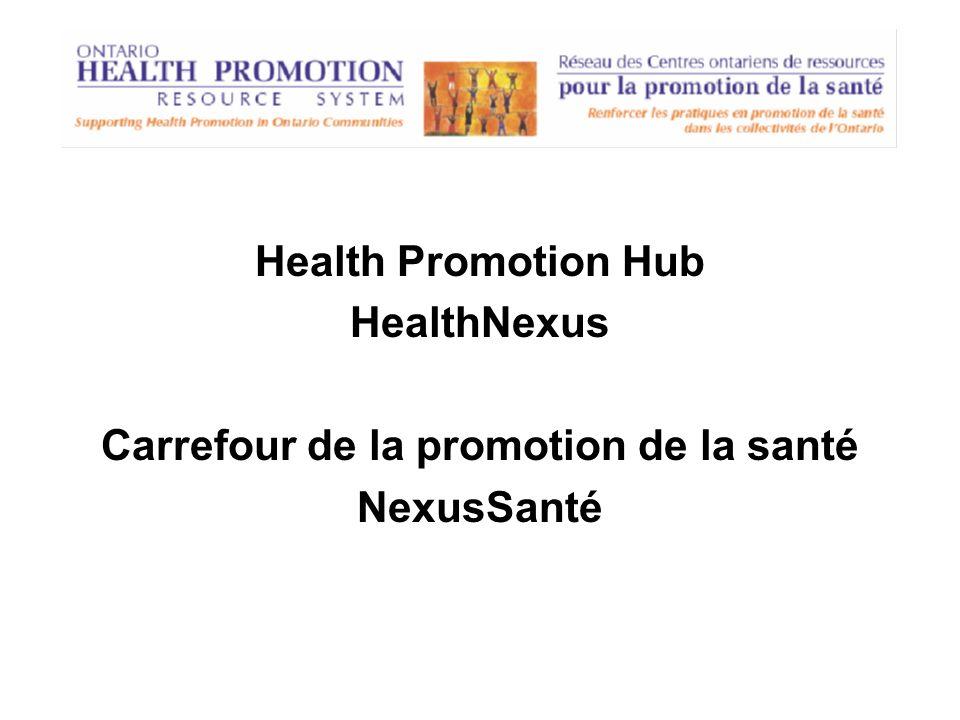 Health Promotion Hub HealthNexus Carrefour de la promotion de la santé NexusSanté