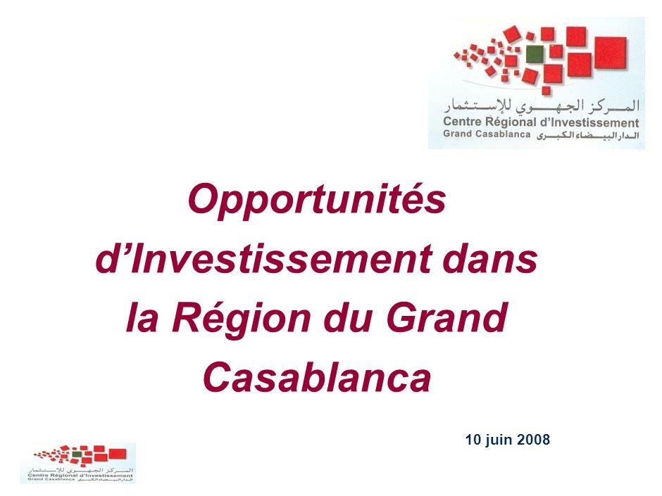 Présentation du projet Janvier 2006 Opportunités dInvestissement dans la Région du Grand Casablanca 10 juin 2008