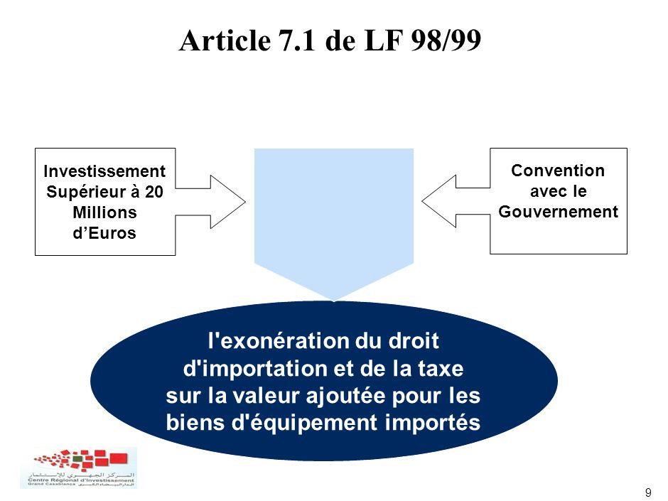 9 Convention avec le Gouvernement Investissement Supérieur à 20 Millions dEuros l'exonération du droit d'importation et de la taxe sur la valeur ajout