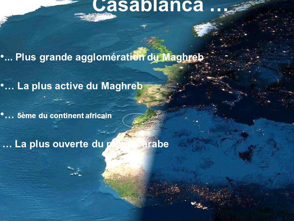 15... Plus grande agglomération du Maghreb … La plus active du Maghreb … 5ème du continent africain … La plus ouverte du monde arabe Casablanca …