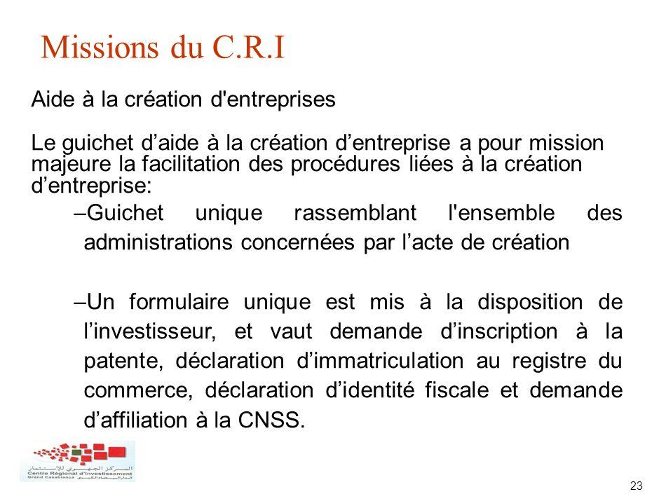 23 Missions du C.R.I Aide à la création d'entreprises Le guichet daide à la création dentreprise a pour mission majeure la facilitation des procédures