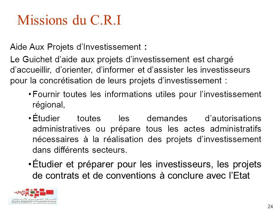 24 Aide Aux Projets dInvestissement : Le Guichet daide aux projets dinvestissement est chargé daccueillir, dorienter, dinformer et dassister les inves