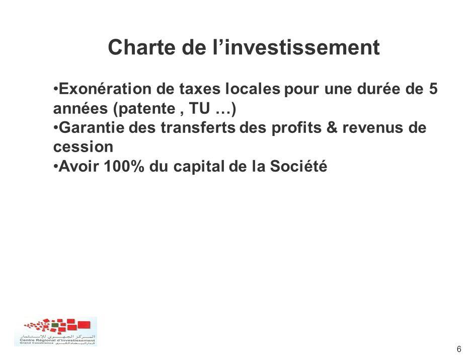 6 Exonération de taxes locales pour une durée de 5 années (patente, TU …) Garantie des transferts des profits & revenus de cession Avoir 100% du capit