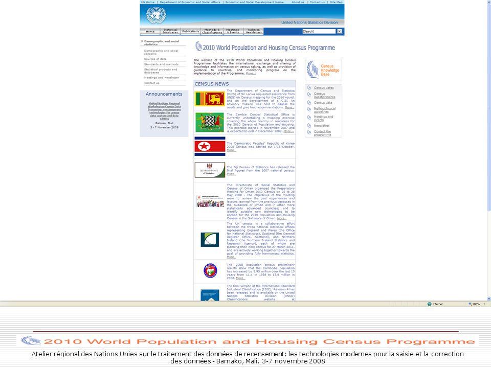 Atelier régional des Nations Unies sur le traitement des données de recensement: les technologies modernes pour la saisie et la correction des données - Bamako, Mali, 3-7 novembre 2008
