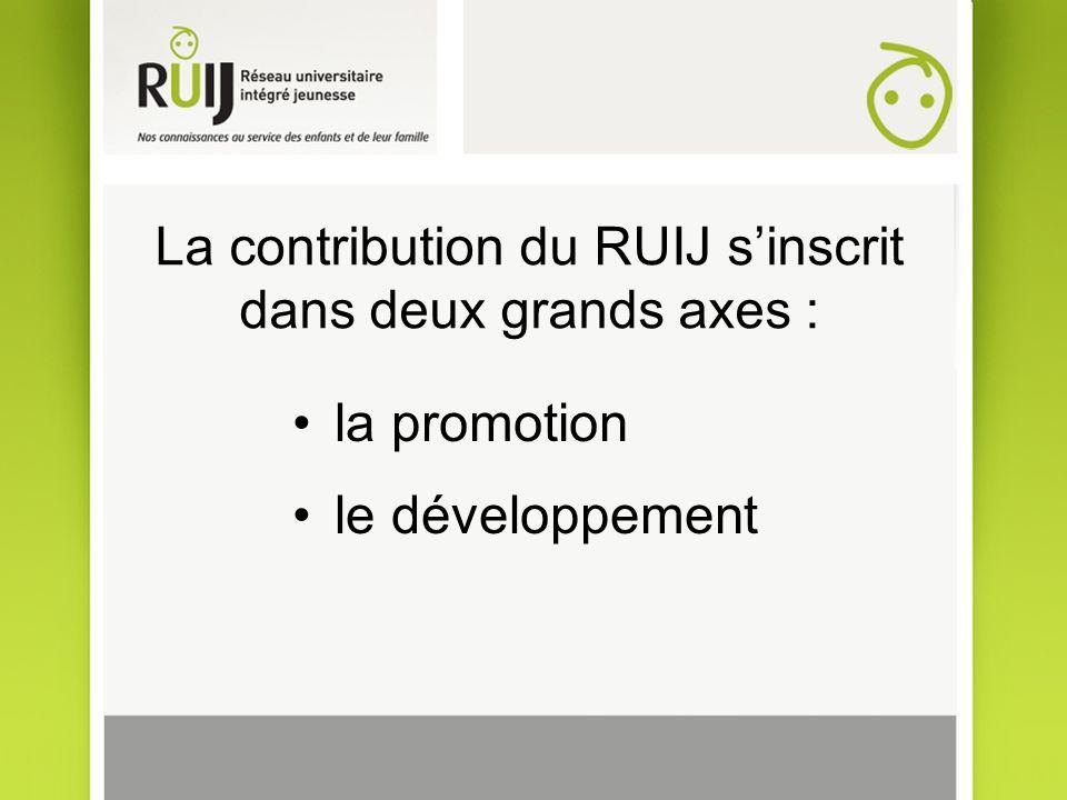 La contribution du RUIJ sinscrit dans deux grands axes : la promotion le développement