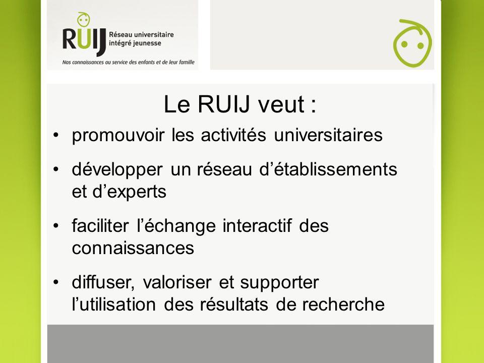 Le RUIJ veut : promouvoir les activités universitaires développer un réseau détablissements et dexperts faciliter léchange interactif des connaissances diffuser, valoriser et supporter lutilisation des résultats de recherche