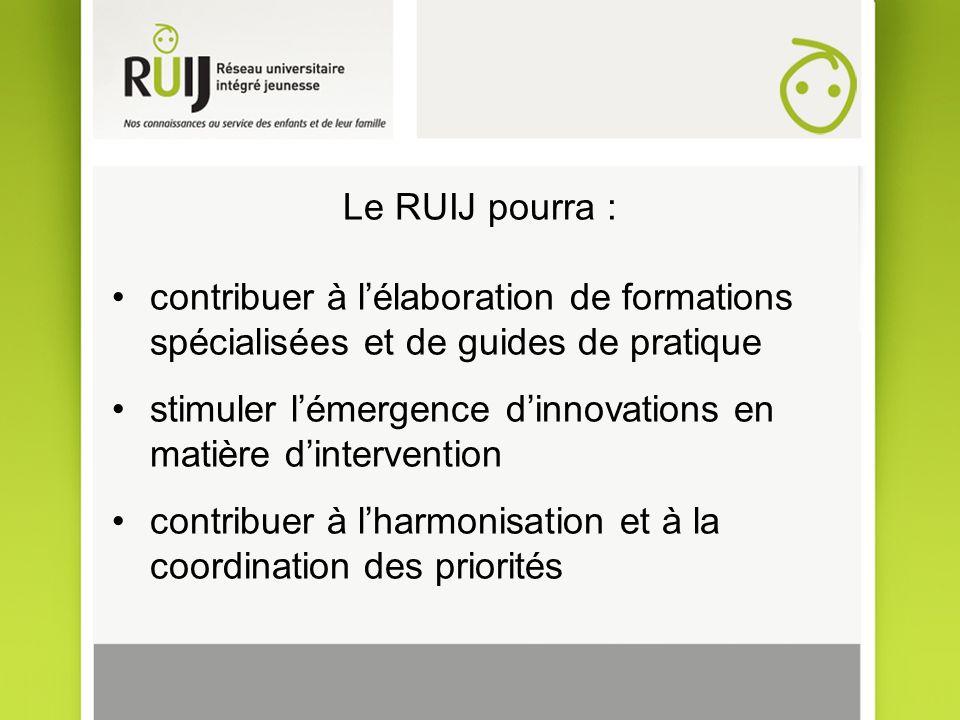 Le RUIJ pourra : contribuer à lélaboration de formations spécialisées et de guides de pratique stimuler lémergence dinnovations en matière dintervention contribuer à lharmonisation et à la coordination des priorités