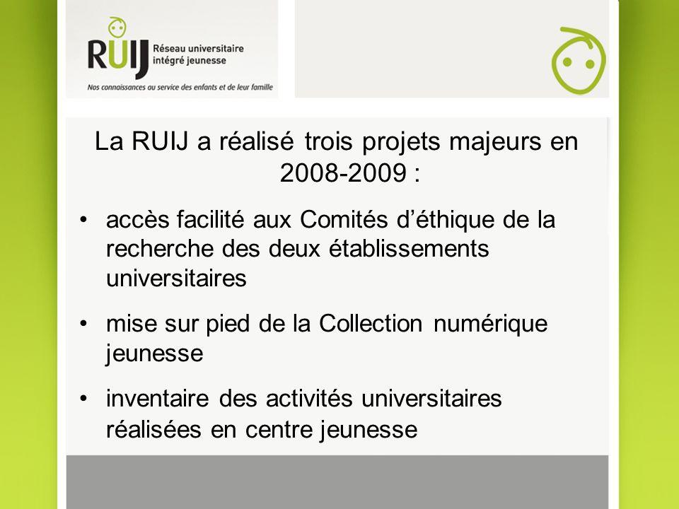 La RUIJ a réalisé trois projets majeurs en 2008-2009 : accès facilité aux Comités déthique de la recherche des deux établissements universitaires mise sur pied de la Collection numérique jeunesse inventaire des activités universitaires réalisées en centre jeunesse
