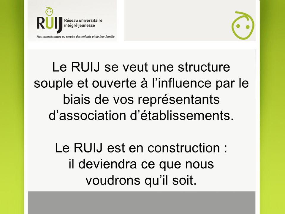Le RUIJ se veut une structure souple et ouverte à linfluence par le biais de vos représentants dassociation détablissements.