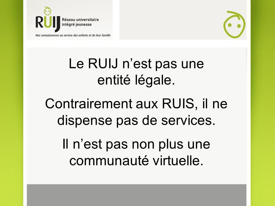 Le RUIJ nest pas une entité légale. Contrairement aux RUIS, il ne dispense pas de services. Il nest pas non plus une communauté virtuelle.