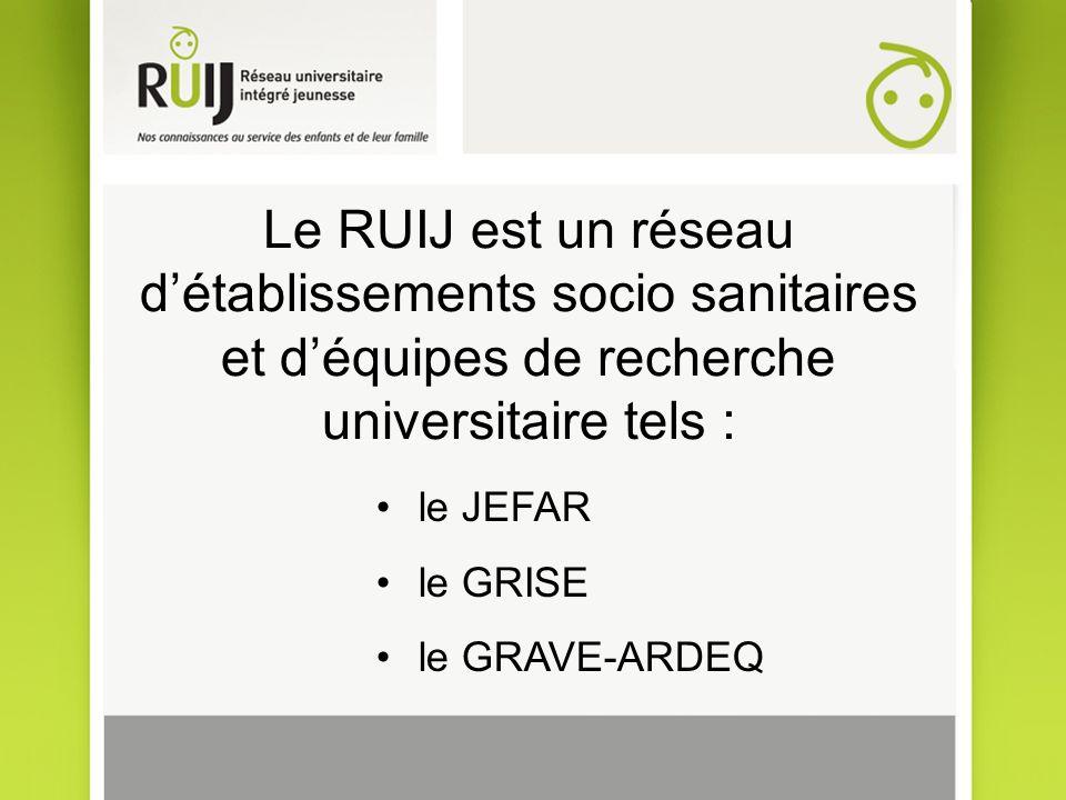 Le RUIJ est un réseau détablissements socio sanitaires et déquipes de recherche universitaire tels : le JEFAR le GRISE le GRAVE-ARDEQ