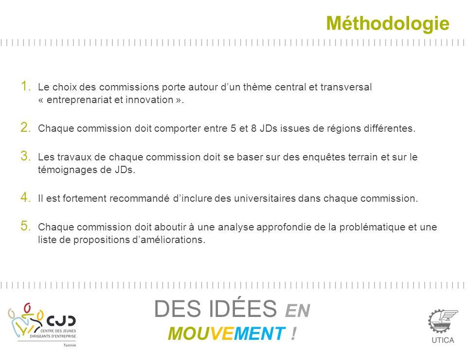 Méthodologie 1. Le choix des commissions porte autour dun thème central et transversal « entreprenariat et innovation ». 2. Chaque commission doit com