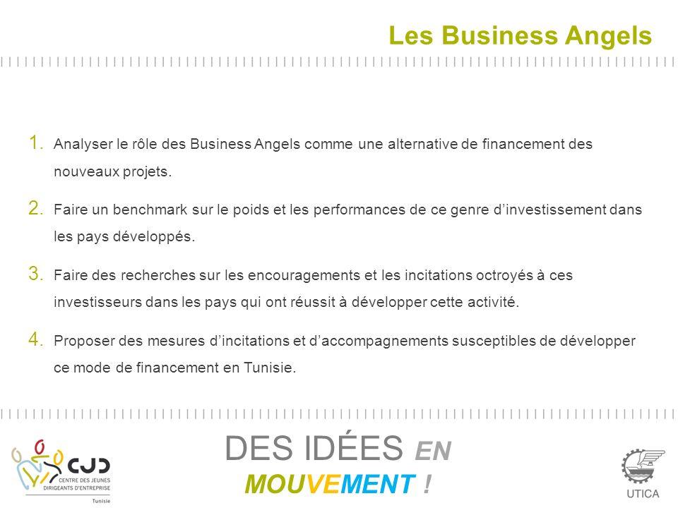 Les Business Angels DES IDÉES EN MOUVEMENT ! 1. Analyser le rôle des Business Angels comme une alternative de financement des nouveaux projets. 2. Fai