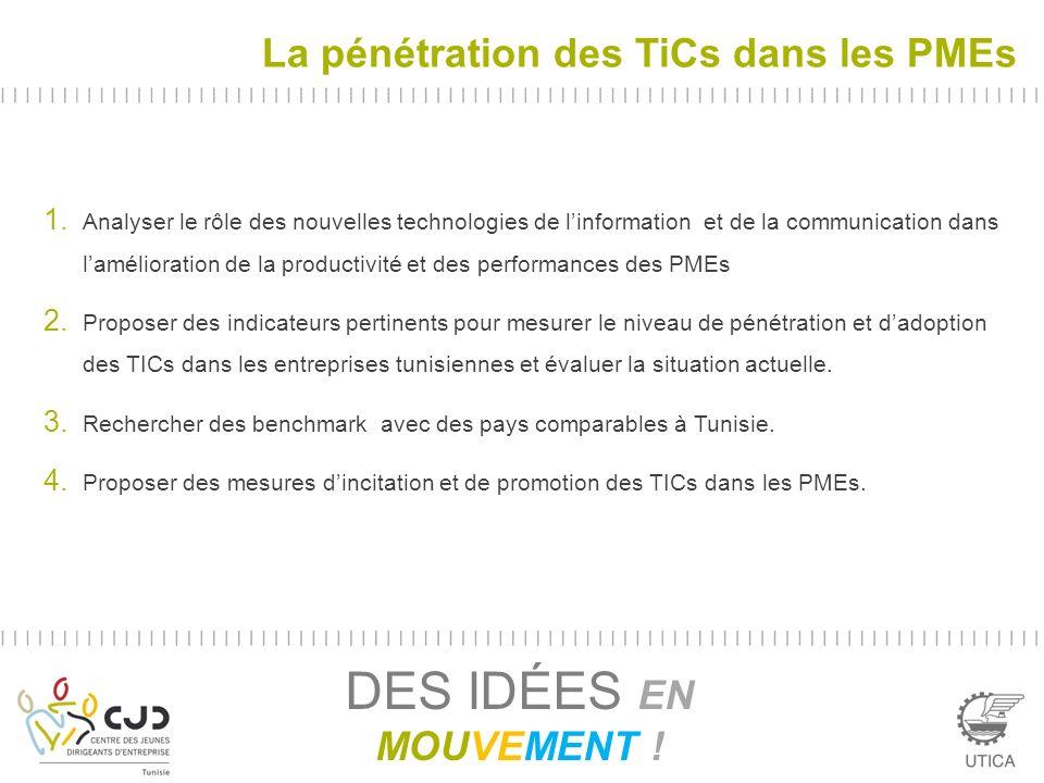 La pénétration des TiCs dans les PMEs DES IDÉES EN MOUVEMENT ! 1. Analyser le rôle des nouvelles technologies de linformation et de la communication d