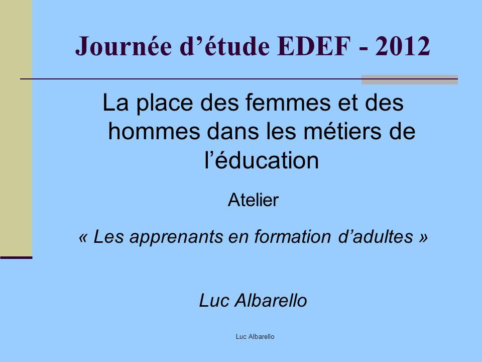 Luc Albarello Journée détude EDEF - 2012 La place des femmes et des hommes dans les métiers de léducation Atelier « Les apprenants en formation dadult