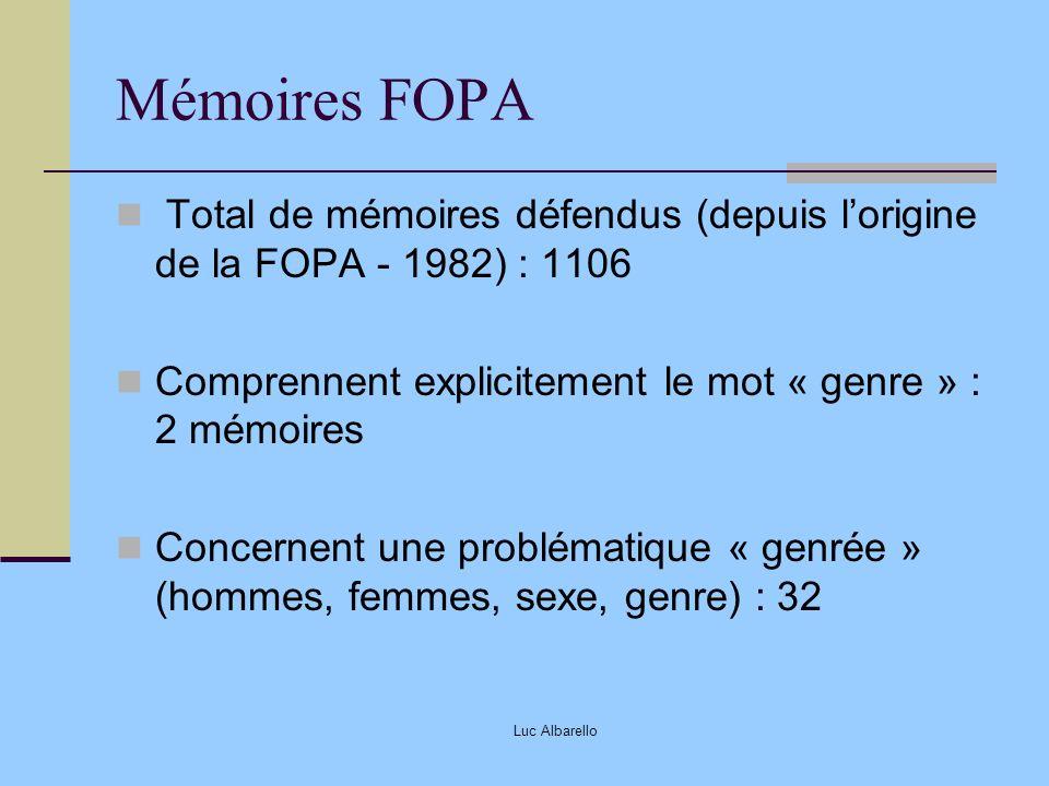 Luc Albarello Mémoires FOPA Total de mémoires défendus (depuis lorigine de la FOPA - 1982) : 1106 Comprennent explicitement le mot « genre » : 2 mémoi