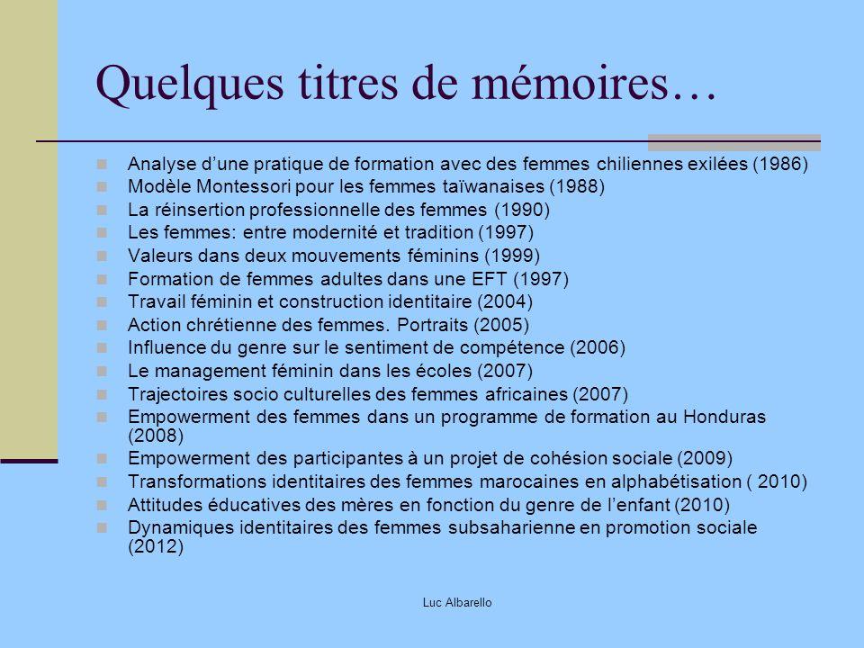 Luc Albarello Quelques titres de mémoires… Analyse dune pratique de formation avec des femmes chiliennes exilées (1986) Modèle Montessori pour les fem