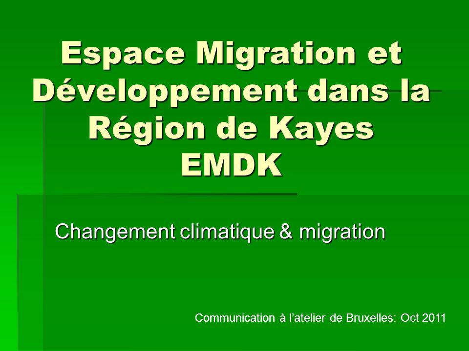Espace Migration et Développement dans la Région de Kayes EMDK Changement climatique & migration Communication à latelier de Bruxelles: Oct 2011