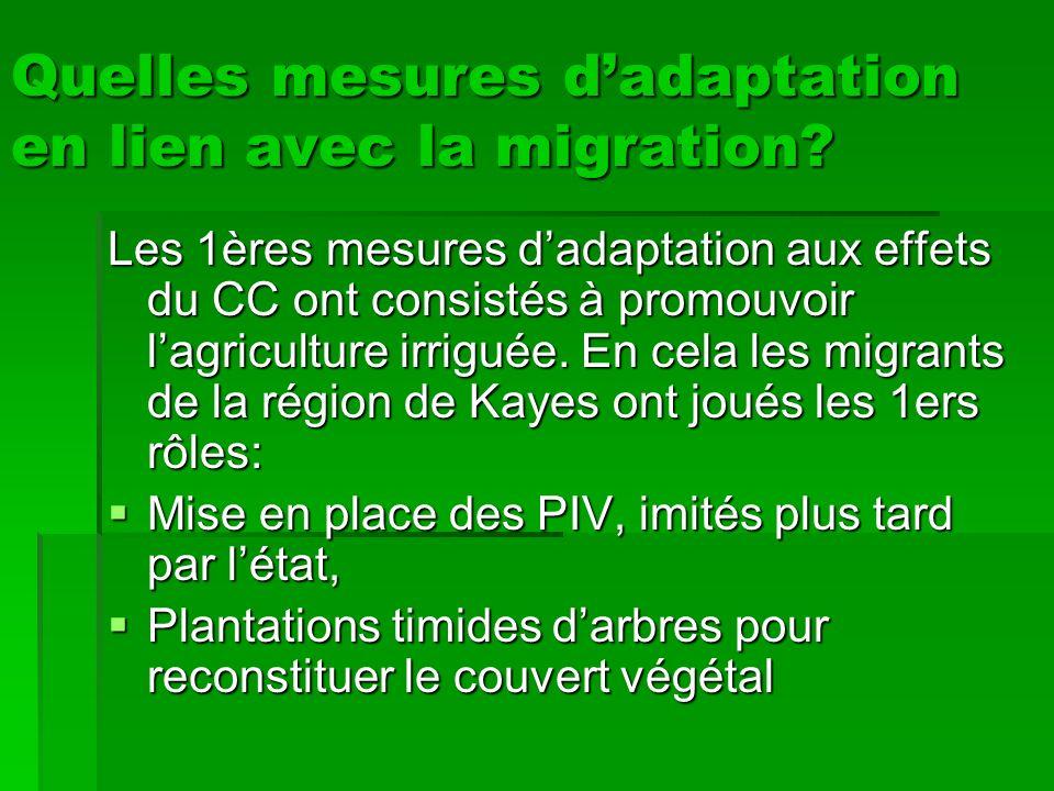 Autres mesures datténuation en lien avec la migration Ce sont des mesures durgence sans effet direct sur le phénomène de CC: Création des banques de céréales sur initiative des migrants comme alternative à la précarité des récoltes.