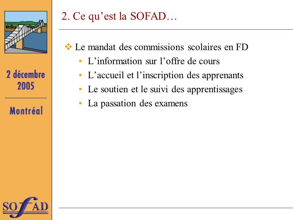 2. Ce quest la SOFAD… Le mandat des commissions scolaires en FD Linformation sur loffre de cours Laccueil et linscription des apprenants Le soutien et