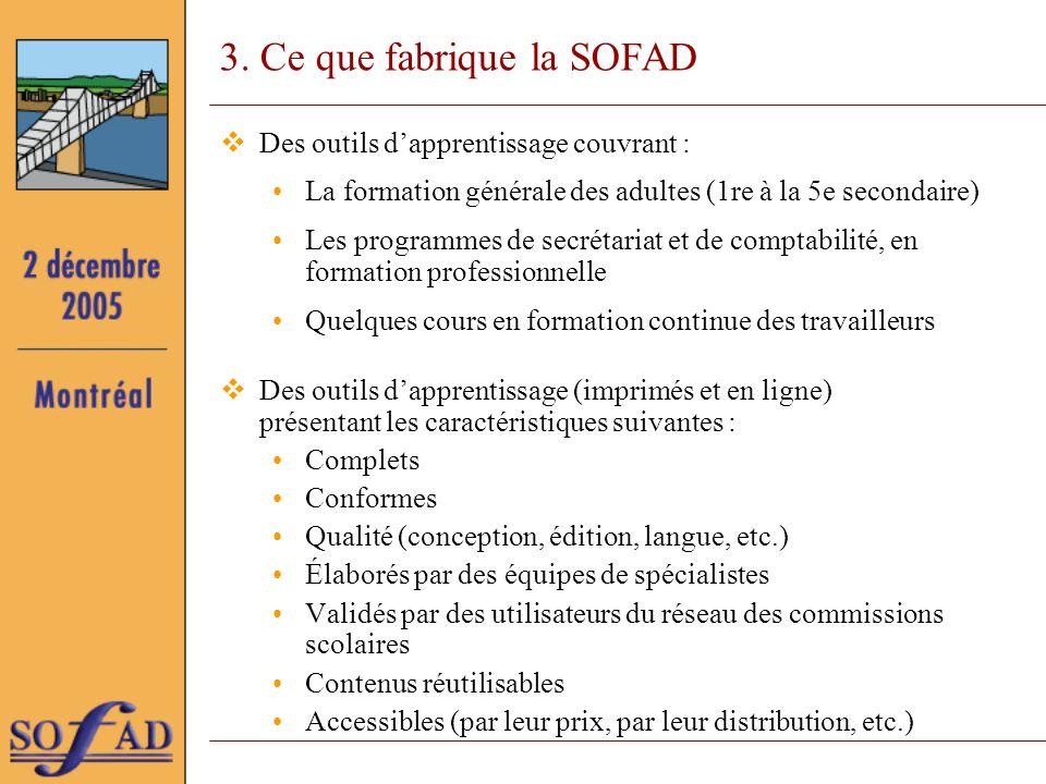 3. Ce que fabrique la SOFAD Des outils dapprentissage couvrant : La formation générale des adultes (1re à la 5e secondaire) Les programmes de secrétar