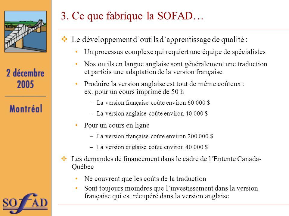 3. Ce que fabrique la SOFAD… Le développement doutils dapprentissage de qualité : Un processus complexe qui requiert une équipe de spécialistes Nos ou