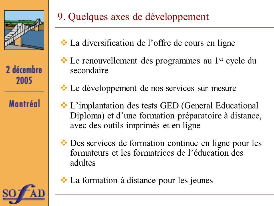 9. Quelques axes de développement La diversification de loffre de cours en ligne Le renouvellement des programmes au 1 er cycle du secondaire Le dével