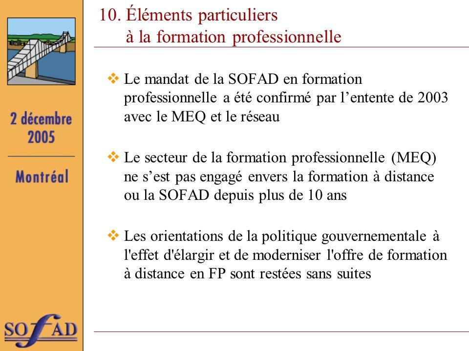 10. Éléments particuliers à la formation professionnelle Le mandat de la SOFAD en formation professionnelle a été confirmé par lentente de 2003 avec l