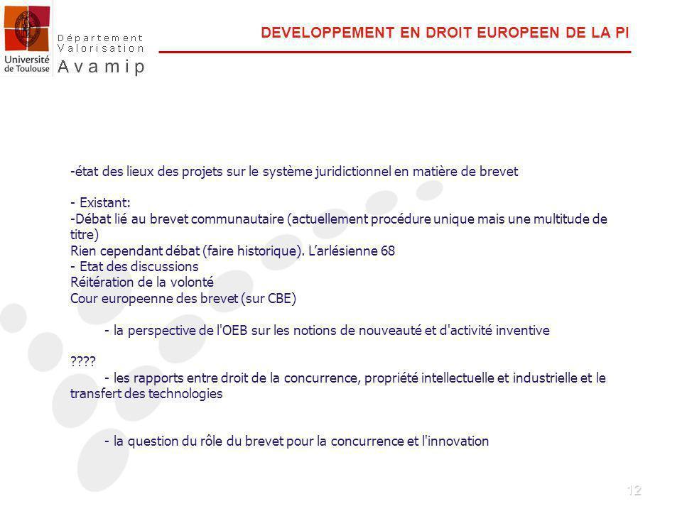 12 DEVELOPPEMENT EN DROIT EUROPEEN DE LA PI -état des lieux des projets sur le système juridictionnel en matière de brevet - Existant: -Débat lié au brevet communautaire (actuellement procédure unique mais une multitude de titre) Rien cependant débat (faire historique).