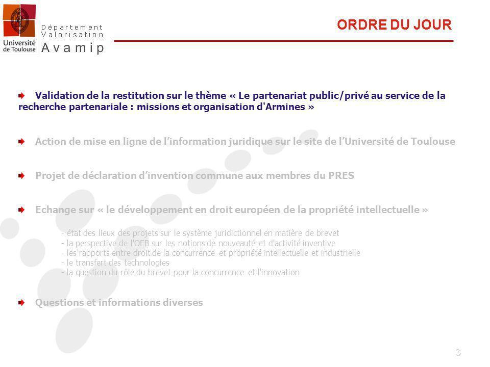3 Validation de la restitution sur le thème « Le partenariat public/privé au service de la recherche partenariale : missions et organisation d Armines » Action de mise en ligne de linformation juridique sur le site de lUniversité de Toulouse Projet de déclaration dinvention commune aux membres du PRES Echange sur « le développement en droit européen de la propriété intellectuelle » - état des lieux des projets sur le système juridictionnel en matière de brevet - la perspective de l OEB sur les notions de nouveauté et d activité inventive - les rapports entre droit de la concurrence et propriété intellectuelle et industrielle - le transfert des technologies - la question du rôle du brevet pour la concurrence et l innovation Questions et informations diverses ORDRE DU JOUR