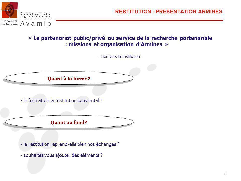 5 Validation de la restitution sur le thème « Le partenariat public/privé au service de la recherche partenariale : missions et organisation d Armines » Action de mise en ligne de linformation juridique sur le site de lUniversité de Toulouse Projet de déclaration dinvention commune aux membres du PRES Echange sur « le développement en droit européen de la propriété intellectuelle » - état des lieux des projets sur le système juridictionnel en matière de brevet - la perspective de l OEB sur les notions de nouveauté et d activité inventive - les rapports entre droit de la concurrence et propriété intellectuelle et industrielle - le transfert des technologies - la question du rôle du brevet pour la concurrence et l innovation Questions et informations diverses ORDRE DU JOUR