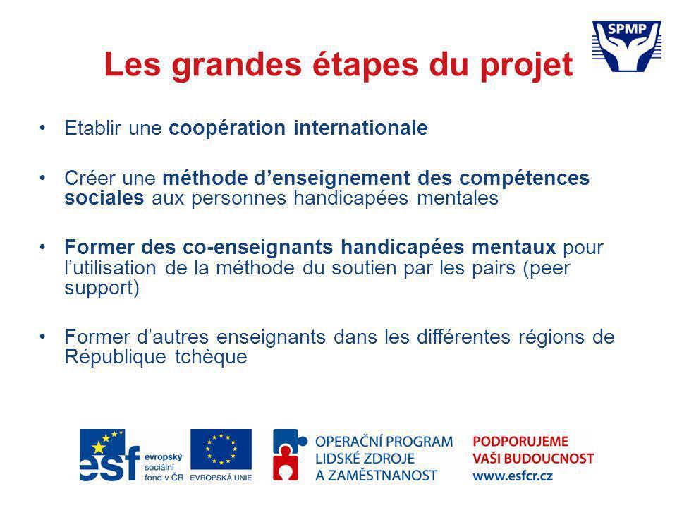 Les grandes étapes du projet Etablir une coopération internationale Créer une méthode denseignement des compétences sociales aux personnes handicapées