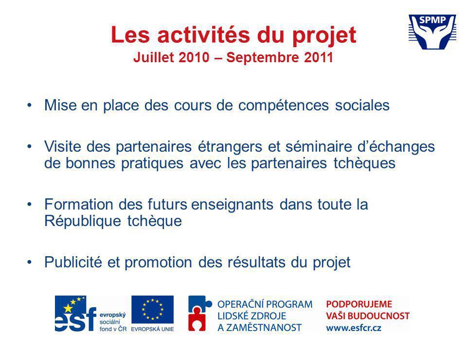 Les activités du projet Juillet 2010 – Septembre 2011 Mise en place des cours de compétences sociales Visite des partenaires étrangers et séminaire dé