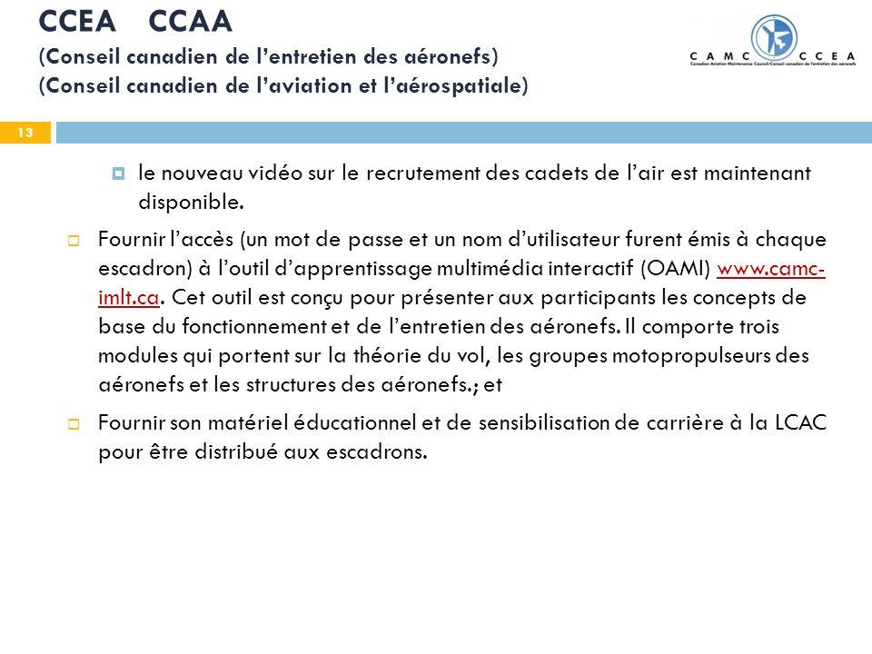 13 CCEA CCAA (Conseil canadien de lentretien des aéronefs) (Conseil canadien de laviation et laérospatiale) le nouveau vidéo sur le recrutement des ca