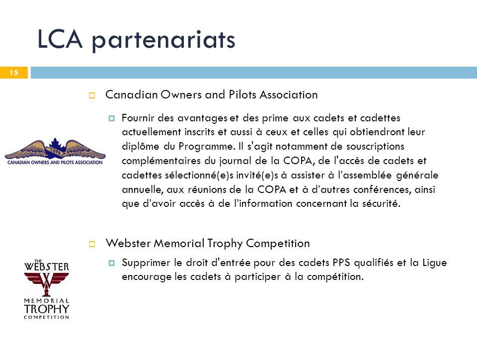 15 LCA partenariats Canadian Owners and Pilots Association Fournir des avantages et des prime aux cadets et cadettes actuellement inscrits et aussi à