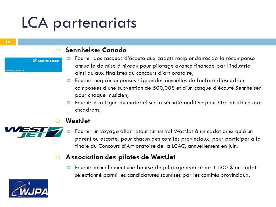 16 LCA partenariats Sennheiser Canada Fournir des casques découte aux cadets récipiendaires de la récompense annuelle de mise à niveau pour pilotage a