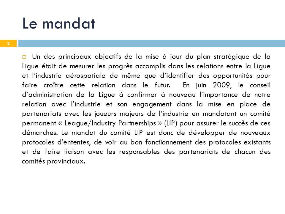 2 Le mandat Un des principaux objectifs de la mise à jour du plan stratégique de la Ligue était de mesurer les progrès accomplis dans les relations en