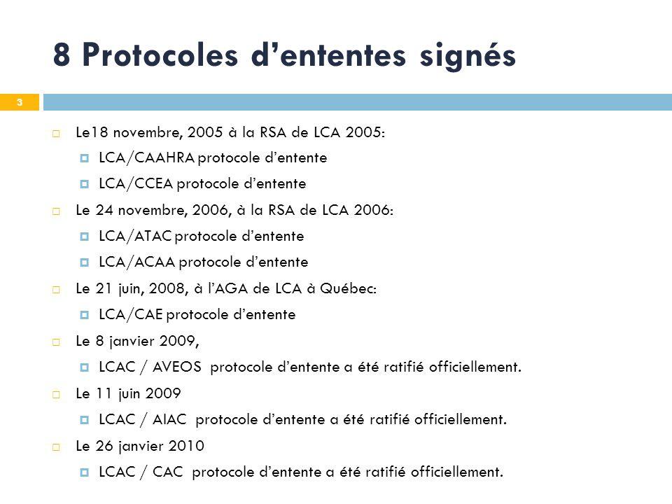 3 8 Protocoles dententes signés Le18 novembre, 2005 à la RSA de LCA 2005: LCA/CAAHRA protocole dentente LCA/CCEA protocole dentente Le 24 novembre, 2006, à la RSA de LCA 2006: LCA/ATAC protocole dentente LCA/ACAA protocole dentente Le 21 juin, 2008, à lAGA de LCA à Québec: LCA/CAE protocole dentente Le 8 janvier 2009, LCAC / AVEOS protocole dentente a été ratifié officiellement.