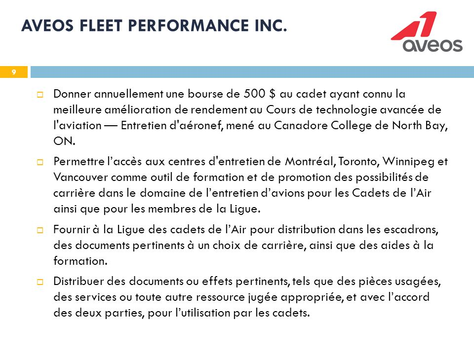 9 AVEOS FLEET PERFORMANCE INC.