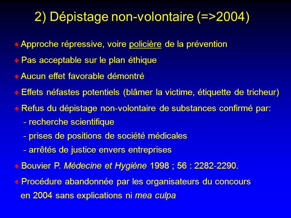 2) Dépistage non-volontaire (=>2004) Approche répressive, voire policière de la prévention Pas acceptable sur le plan éthique Aucun effet favorable dé