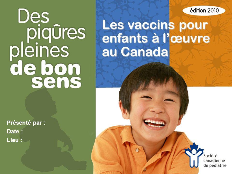 Présenté par : Date : Lieu : Les vaccins pour enfants à lœuvre au Canada