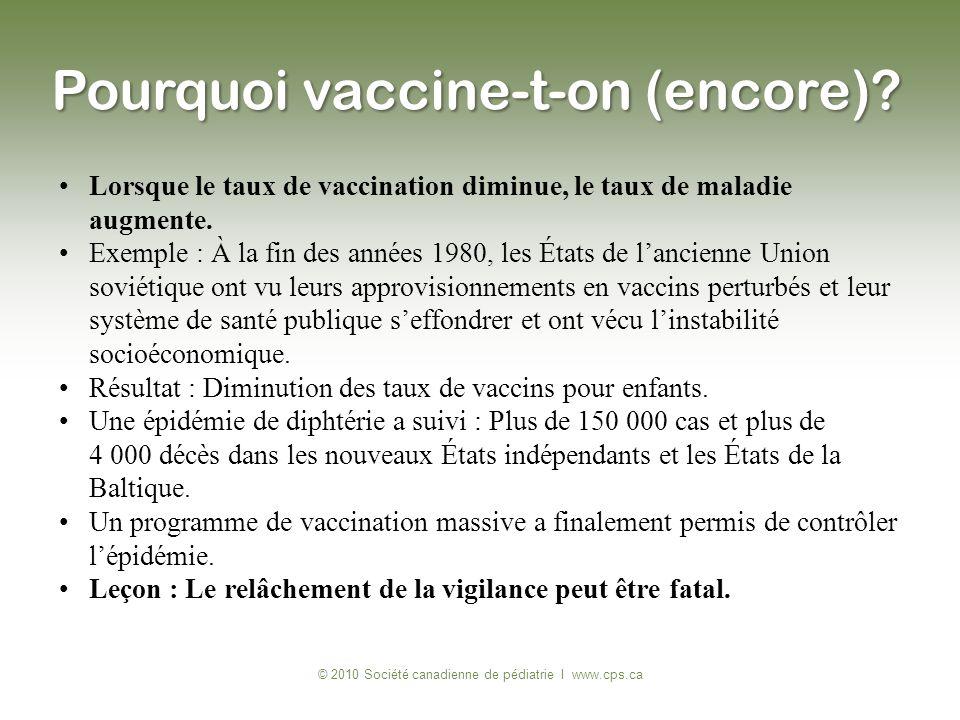 Lorsque le taux de vaccination diminue, le taux de maladie augmente. Exemple : À la fin des années 1980, les États de lancienne Union soviétique ont v