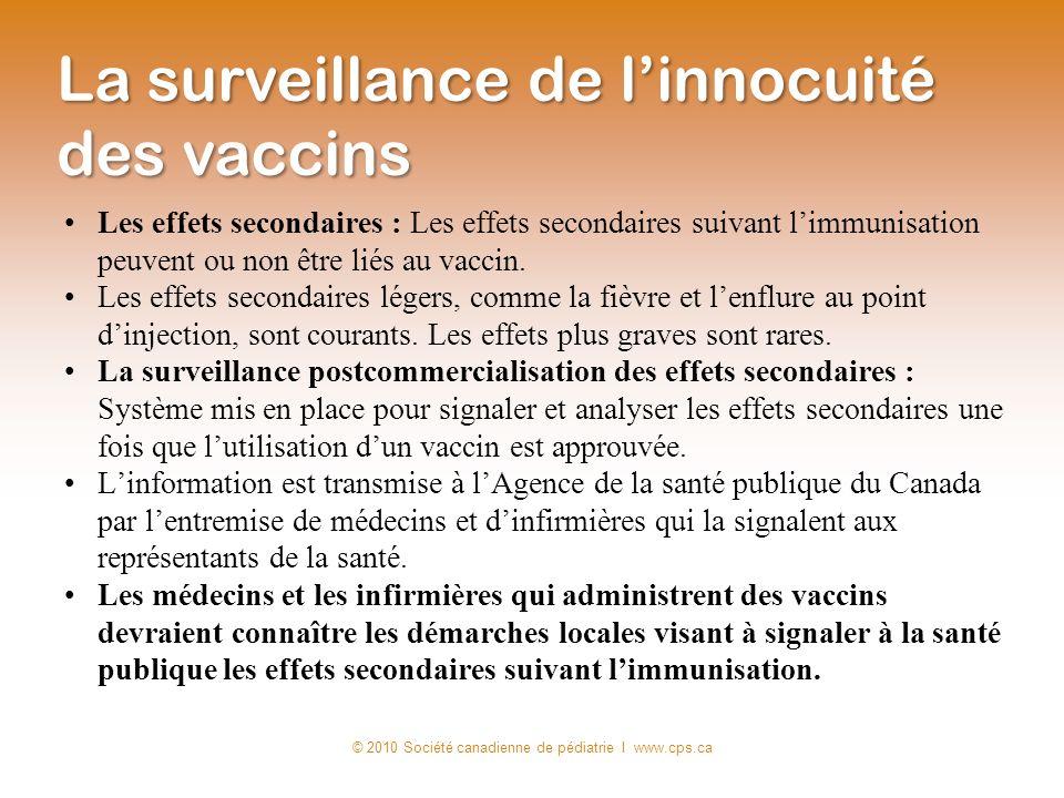Les effets secondaires : Les effets secondaires suivant limmunisation peuvent ou non être liés au vaccin. Les effets secondaires légers, comme la fièv