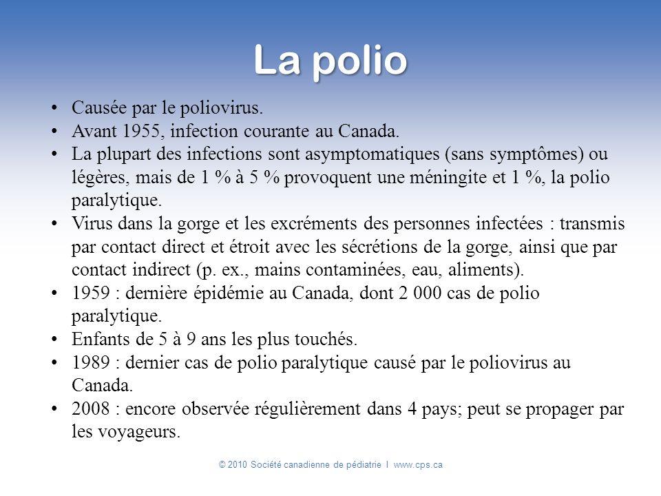 Causée par le poliovirus. Avant 1955, infection courante au Canada. La plupart des infections sont asymptomatiques (sans symptômes) ou légères, mais d