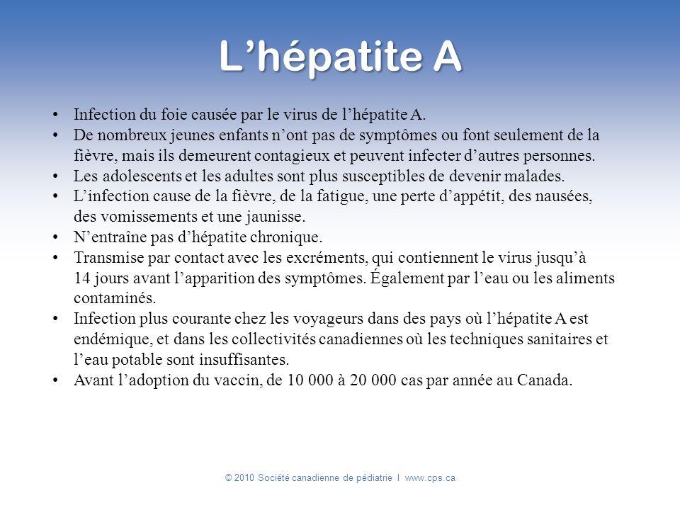 Infection du foie causée par le virus de lhépatite A. De nombreux jeunes enfants nont pas de symptômes ou font seulement de la fièvre, mais ils demeur
