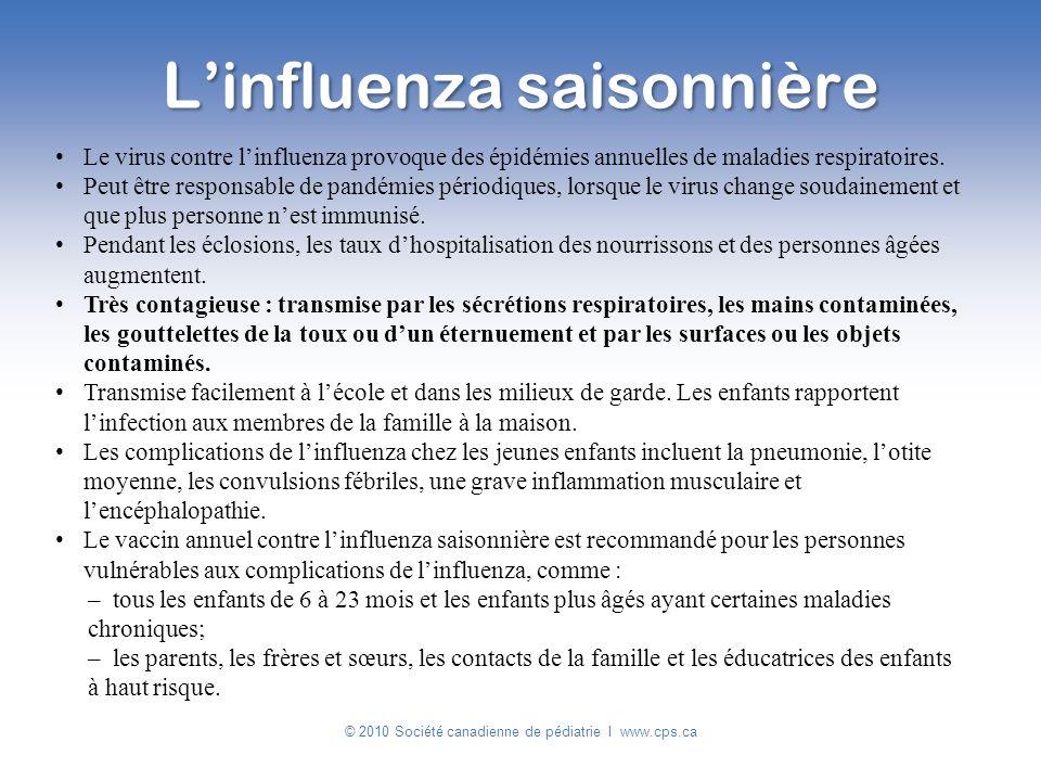 Le virus contre linfluenza provoque des épidémies annuelles de maladies respiratoires. Peut être responsable de pandémies périodiques, lorsque le viru
