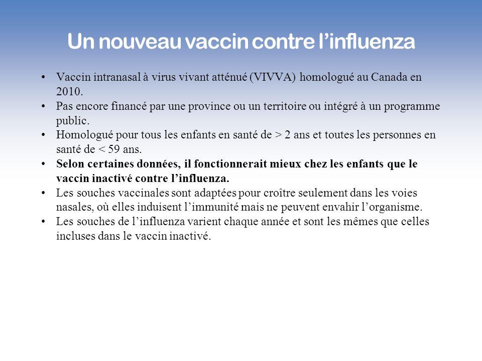 Un nouveau vaccin contre linfluenza Vaccin intranasal à virus vivant atténué (VIVVA) homologué au Canada en 2010. Pas encore financé par une province