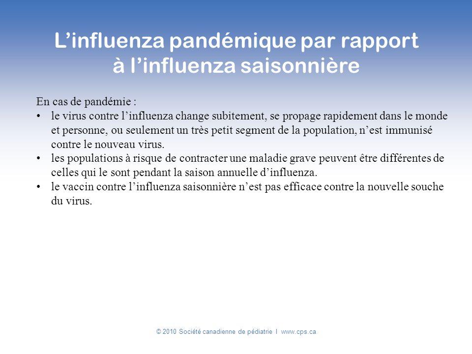 © 2010 Société canadienne de pédiatrie I www.cps.ca En cas de pandémie : le virus contre linfluenza change subitement, se propage rapidement dans le m